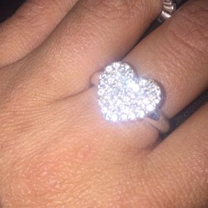 Sterling silver designer diamond ring with heart